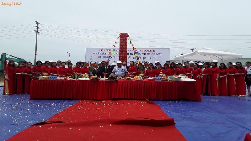"""Lễ khởi công dự án """"Nhà máy Minh Đức giai đoạn 2"""" KCN Bá Thiện – Huyện Bình Xuyên – Tỉnh Vĩnh Phúc"""